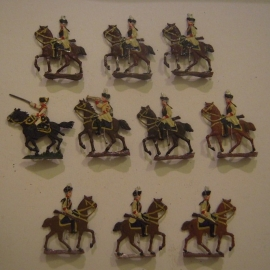 1760 Austrian dragoons , 10x flat 30mm scale. Heinrichsen - Nürnberg (13742)
