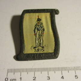 1938-02-5/6 German WHW donation pin. Uniform and history - 1815 Drum major. Woven fabric in metal frame T113 (16346)