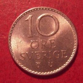 Gustaf VI Adolf , 10 Öre 1963        KM835 (12593)