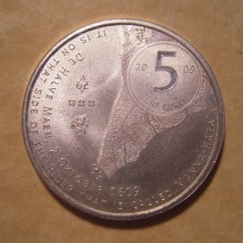 Beatrix - 5 Euro 2009 - Manhattan. Unc !!! silvered !!!  KM282 (11696)