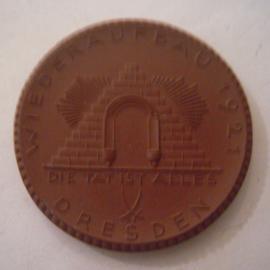 Dresden , 20 Mark 1921 - Verein der Hotelbesitzer. Meissen Porzellan 42mm Sch367a - IV (16097)