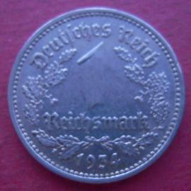 Third Reich - 1 Reichsmark 1934 G. Xf !!! Ni J354/KM78 (9796)
