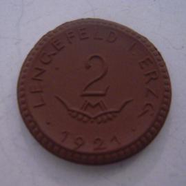Lengefeld - Wittig u. Schwabe , 2 Mark 1921. Meissen Porselein 25mm Sch305a - III (14492)