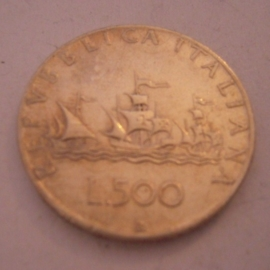 Italian Republic , 500 Lire 1958. Silver !!  KM98 (14511)