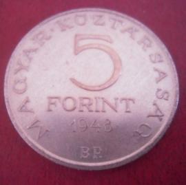 Ungarn 1ste Republik , 5 Florint 1948 BP      KM537 (11303)