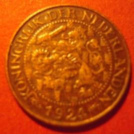 Wilhelmina - 1 Cent 1924. Xf !!! Bronze KM152 (7305)