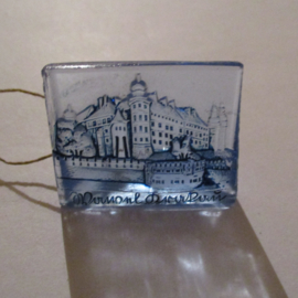 1942-09-19/20 German WHW donation gift. German monuments - Wawel Krakau/Kraków (POL). Glass blue 35x25mm T510 (16286)