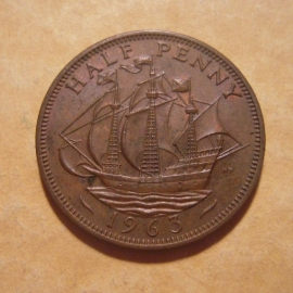 Great Britain - Elizabeth II , ½ Penny 1963     KM896 (12872)