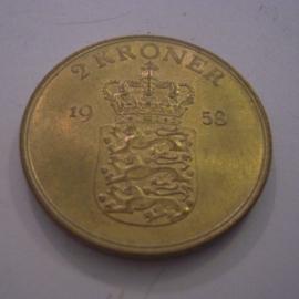 Denmark - Frederick IX , 2 Kroner 1958 KM838.2 (14942)