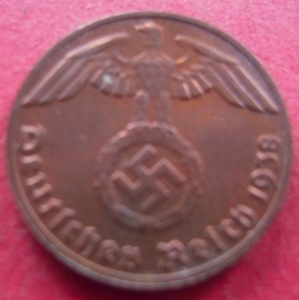 Germany - Third Reich , 1 Reichspfennig 1938 E , some original color !!    J361/KM89 (7416)