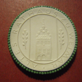 1950 Weimar , 700 yrs celebration. Green edge !!! Only 20 pcs made !!! Meissen Porcelain 40mm Sch2290s - RRR !!! (11016)