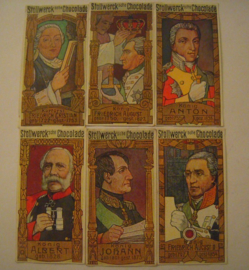 Old German collector cards - Saxon rulers complete series , I - VI.  Stollwerk Chocolate album 4 group 163 , 1900 - 1920's 92x48mm (15312)