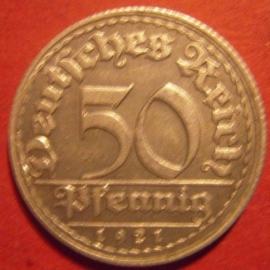 Weimar Republic - 50 Pfennig  1921 D. Al J301/KM27 (6204)
