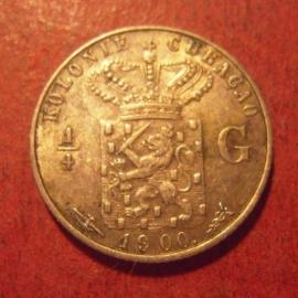 Curaçao , Wilhelmina , ¼ Gulden 1900      KM35 (11500)