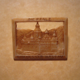 Gau Hessen-Nassau 1942 WHW donation pin. , Sights of the region - Die Pfalz. Synthetic T043 (12736)