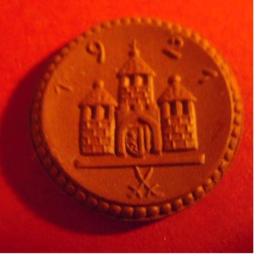 Freiberg , 25 Pfennig 1921 - mit Kreuz. Meissen Porzellan 21mm Sch117a - III (256)
