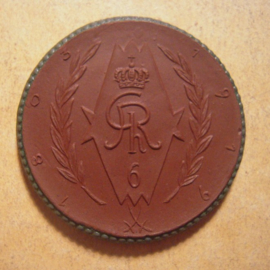 1922 Bayreuth - Memorial 6th. light cavalry donation - St.George. Green edge !! Meissen Porcelain 42mm Sch665f RR !!! (13585)