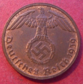 Germany - Third Reich , 1 Reichspfennig 1939 D , some original color !!   J361/KM89 (8806)