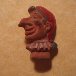 1944-04-1/2 German WHW donation pin. Kasperle figures -  Kasperl. Ceramic T573.1 (12996)