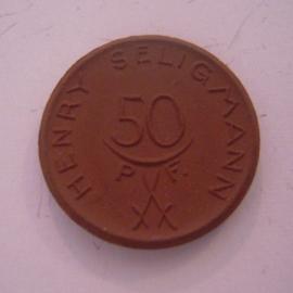 Hannover , 50 Pfennig 1921 - Henry Seligmann. Meissen Porzellan 24mm Sch298a - III (14555)