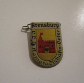 1934-39 German VDA donation pin. Coat of arms German cities abroad - Arensburg / Kuressaare (EST). Metal 30x20mm T018 (16232)