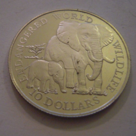 Cook Islands - Elisabeth II , 10 Dollars 1990 - Elephants. Silver KM72 (15188)