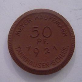 Tannhausen/Jedlinka (SVN), 50 Pfennig 1921 - Meyer Kauffmann. Meissen Porzellan 24mm Perlrand Sch311a - III (14637)