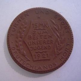 Berlin , 15 Mark 1921 - Deutscher Reichsausschuss für Leibesübungen. Meissen Porzellan 42mm Sch353a - IV (14519)