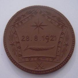 1921 Freiberg , WWI memorial Reserve Jäger Battalion 26 donation. Meissen Porcelain 42mm Sch746a - IV (14571)