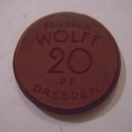 Dresden , 20 Pfennig 1920 - Friedrich Wolff typewriters. Meissen Porcelain 27mm Sch283a - II (15971)