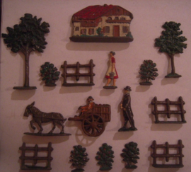 Farm house + trees + figures , 16x  flat 40mm scale (15734)