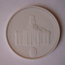1993 A Meissen , City Thaler - Ludwigskirche Saarbrücken. Gilded inner circle !!! Meissen Porcelain 64mm W10.233.2.1.5 - V (14780)