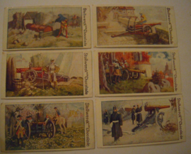 Old German collector cards - Artillery complete series , I - VI , 6x  Stollwerk Chocolate album 3 group 131 , 1900 - 1920's 92x48mm (15293)