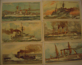 Old German collector cards - Naval complete series - I - VI , 6x Stollwerk Chocolate album 3 group 132 , 1900 - 1920's 92x48mm (15297)