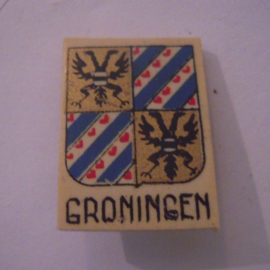 Netherlands 1940's WHN donation pin. Coat of arms provinces & cities - Groningen. Synthetic 29x21mm T038 (15974)