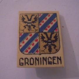 Reichskommisariat Niederlande 1940's WHN Spende. Provinz- & Städtewappen - Groningen. Kunststoffabzeichen mit Nadel 29x21mm T038 (15974)