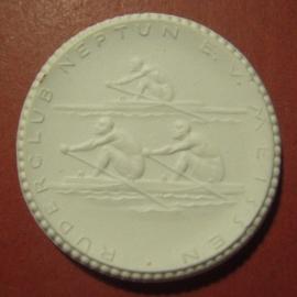 1922 Meissen , 40 yrs Rowing Club Neptune. Blue star !!! Meissen Porcelain 40mm Sch1962v - R !!! (12095)