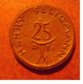Hannover , 25 Pfennig 1921 - Henry Seligmann. Meissen Porzellan 19mm Sch297a - III (11528)