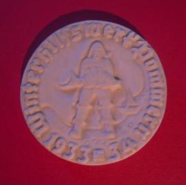 1933/34 German WHW donation gift , region Pomerania. Porcelain medal -  Baltic Sea fisherman. Scarce !!! T26.008 (6456)