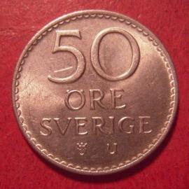 Gustaf VI Adolf , 50 Öre 1964 U     KM837 (12591)