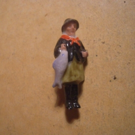 1937-03-20/21 German WHW donation pin. German folk costums - Friesland fisherman. Porcelain 40mm  T077 (13419)