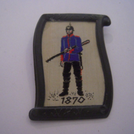1938-02-5/6 German WHW donation pin. Uniform and history - 1870 Saxon infantry soldier. Woven fabric in metal frame 37x50mm T115 (9667)