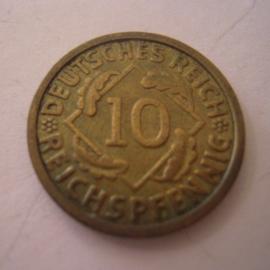 Weimarer Republik - 10 Reichspfennig 1925 G. CuAl J317/KM40 (15244)