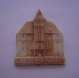 1942-06-27/28 German Red Cross donation gift. Famous city gates - Danzig / Gdańsk (POL) - Krantor. Synthetic white with brown patina 40mm T071 (15918)