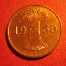 Weimar Republic - 1 Reichspfennig 1930 E !!! Bronze J313/KM37 (6707)