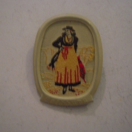 1938-11-5/6 German WHW donation pin. Traditional dress Austria / Ostmark - Salzburg , woman red umbrella. Woven fabric in metal frame T153.1 (14506)