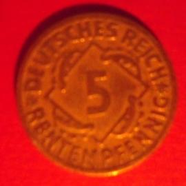 Weimarer Republik - 5 Rentenpfennig 1924 D       J308/KM32 (6416)