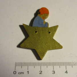 1936-12-18/21 German WHW donation gift. Dwarfs , angels and childern - Girl on star. Wooden, hand painted T059 (16415)