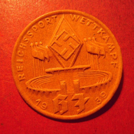 1939 Hitlerjugend - Nürnberg - National sports contest pin. Pressed cardboard / Pappe 37mm (12449)