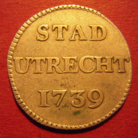 Utrecht - City , 1 Duit 1739  struck in silver !!!  Rare !!!    KM91a (9589)
